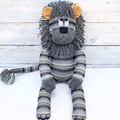 'Larry' the  Sock Lion - grey, navy blue & mustard stripes - *READY TO POST*
