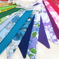 Bunting - Retro RAINBOW Multi-Colour Vintage Floral & Plain Fabric Flags