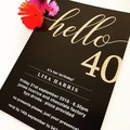 Black & Rose Gold 40th Birthday Invitations
