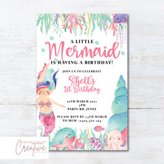 Mermaid/Under the Sea Animals Birthday Party Invitation