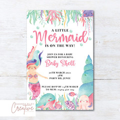 Mermaid/Under the Sea Animals Baby Shower Invitation