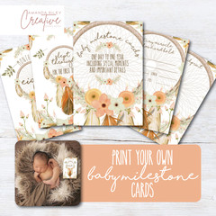 Print Your Own Baby Milestone Cards - Dreamcatcher/Boho - DIGITAL FILE