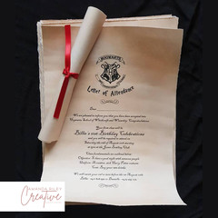 Harry Potter/Hogwarts Scroll Theme Birthday Invitations