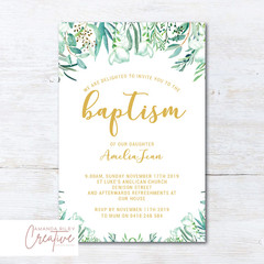 Greenery Baptism/Christening Invitations