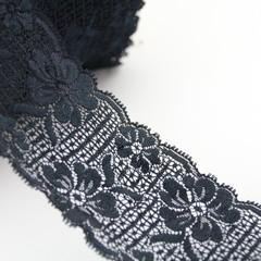 10 m x Black Stretch Lace 8cm wide