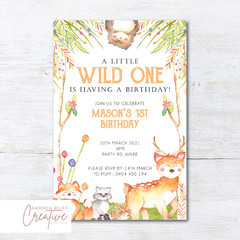 Woodland/Forest Animals Birthday Party Invitation