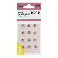 12 x 5mm Silver Brass Metal Sew On Press Stud Fasteners For Doll Clothing