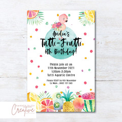 Tutti Frutti/Tropical/Flamingo Birthday Party Invitation - DIGITAL FILE