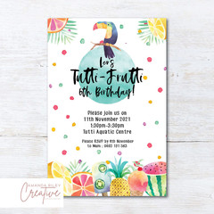 Tutti Frutti/Tropical/Toucan Birthday Party Invitation - DIGITAL FILE