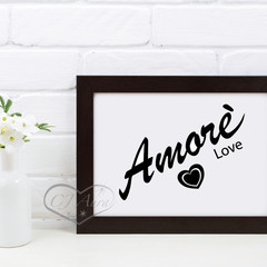 A4 and A3 Simple Amore Love Printable Black or Grey and White