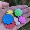 Long line flower drop earrings - green