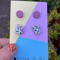 Polymer clay printed stud duo pack