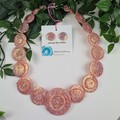 Sorbet Fizz Sparkle Glitter  - Resin Button Necklace and Earrings