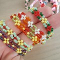 Bohemian woven seed bead bracelet on elastic string, multiple colours