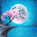 Cherry Tree and Moon Painting
