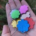 Long line flower drop earrings - electric  blue