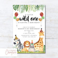 Safari/Jungle Animals Birthday Party Invitation - DIGITAL FILE
