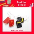BOOK earrings, CALCULATOR earrings, Back to school