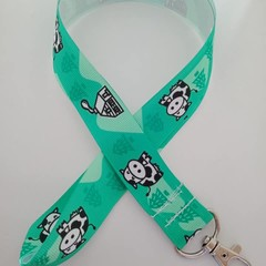 Green black and white cow / farm house print lanyard / ID holder / badge holder