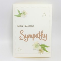 Sympathy Card - Lillies on cream