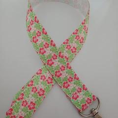 Pink and green tropical flower Hawaiian print lanyard / ID holder / badge holder