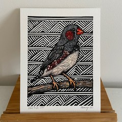Australian Birds - Zebra Finch - Linoprint and watercolour