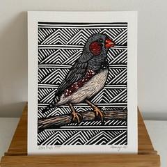 Australian Birds - Zebra Finch - Linoprint and watercolour