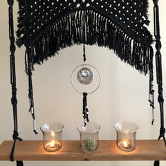 Black Bling Macrame Tealight Candle Wall Hanging