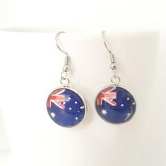 Aussie Flag dangle Earrings, Australia Day Earrings
