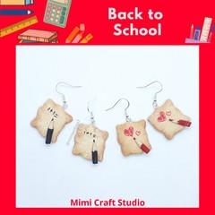 Scarp paper & pencil dangle earrings, back to school, teacher earrings