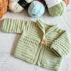 Sage Green Hand Crocheted Baby Cardigan  0-3 months