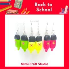 Highlighter dangle earrings, back to school earrings