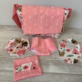 Dolls nappy bag set, bib, doll nappy, wipes case, pretend play, girls gift,
