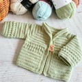 Sage Green Hand Crocheted Baby Cardigan  0-3 months