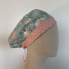 Colourful one of a kind reversible Scrub Hat - Dolly Bunny/Pink