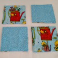Birds and Teapots Fabric Coasters (Set of 4 Coasters)