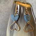 Polymer clay heart earrings with gold heart detail