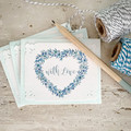 Notecard Set of 3 Floral Heart Wreath Aqua - WITH LOVE