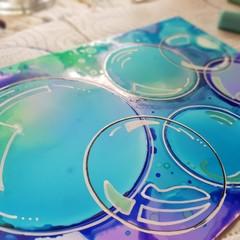'Blue Bubbles - Original Ink Art - 5 x 7 inches