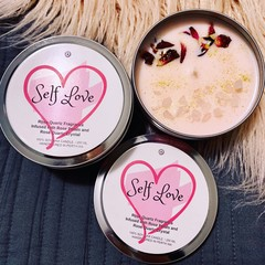 Self Love Candle Tin, Soy wax candle, scented candle, candle tin, gift for her,