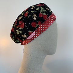 Colourful one of a kind reversible Scrub Hat - Strawberry Patch