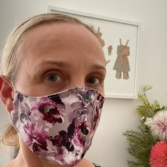 READY TO SHIP -Cotton Face Mask ~ Purple Floral ~ 3 layers