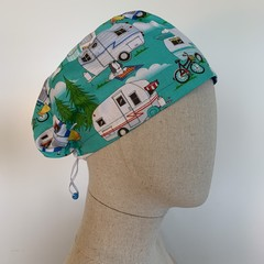 Colourful one of a kind reversible Scrub Hat - Summer Camping Trip