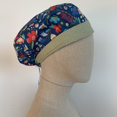 Colourful one of a kind reversible Scrub Hat - Garden Blossom Blue/Green