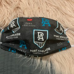 Face Mask with Filter Pocket , Adults Port Adelaide football club Face Mask