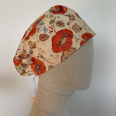 Colourful one of a kind reversible Scrub Hat - Orange Poppy