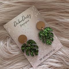 Palm leaf Earrings, palm tree earrings, Statement Earrings