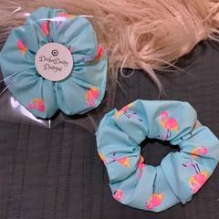 Flamingo Print Scrunchie, Scented Flamingo Print Scrunchie, Large scrunchie