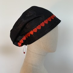 Colourful one of a kind reversible Scrub Hat - Glitter Stripe Valentine's Day