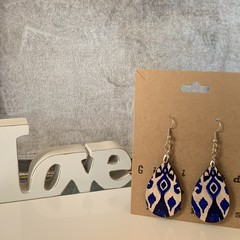 Blue and white teardrop earrings, made from wood with metal wire hook